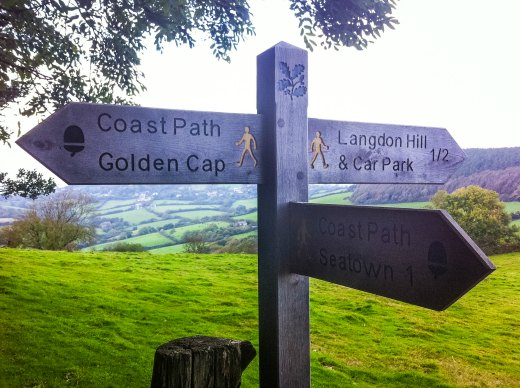 Sign Post with Directions to Golden Cap