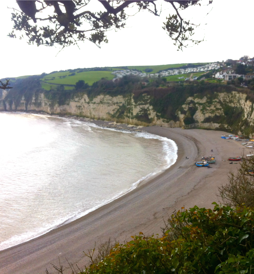 Coast path walk to Beer beach view