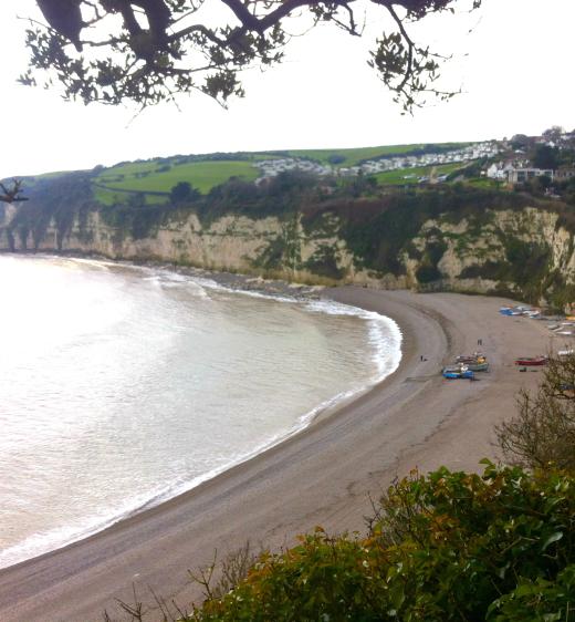 Coast path walk to Beer beach view