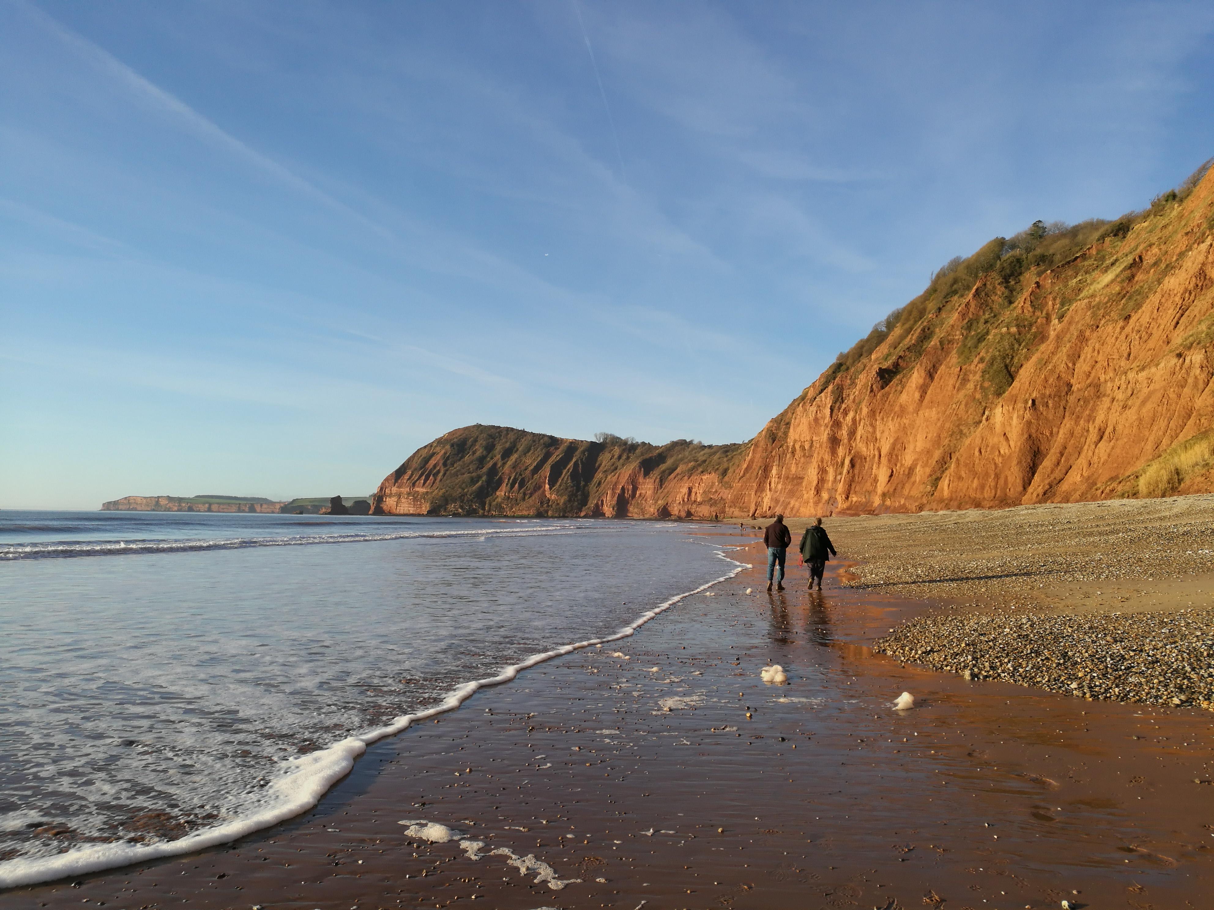 Family winter beach walks in East Devon Sidmouth