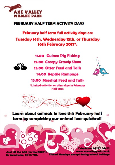 February Half Term Events Devon, Dorset and Somerset 2017 Axe Valley Wildlife Park