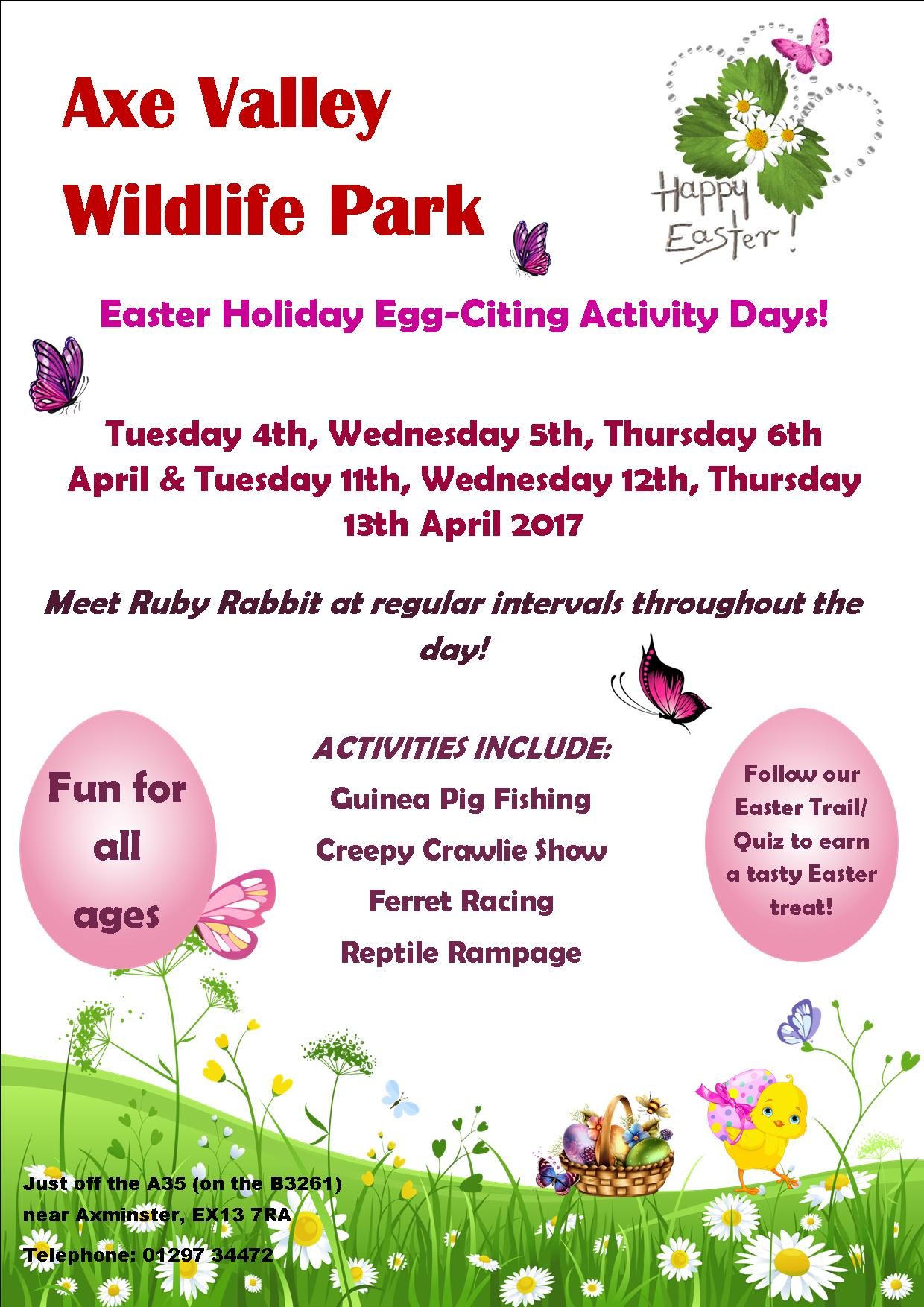 Easter Holidays Days Out What's On Events Devon Dorset Somerset Axe Valley Wildlife Park