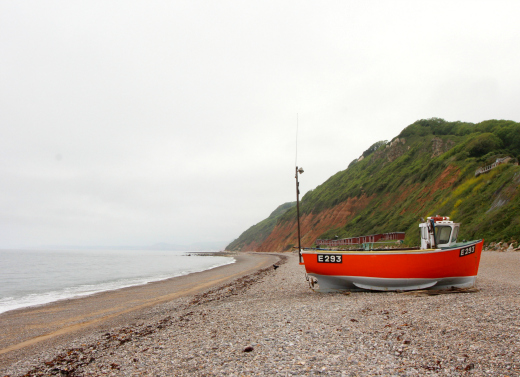 South West Coast Path Beer to Branscombe Walk boat on beach