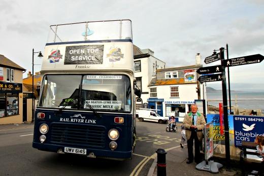 open top bus sightseeing tour devon and dorset Lyme Regis return journey