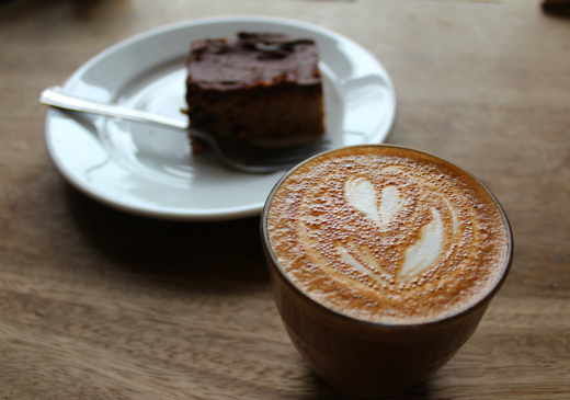Boston Tea Party Honiton cafe review flat white and flapjack