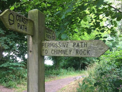 A short walk in Lyme Regis Chimney Rock sign