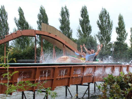 Family day out in Devon at Crealy Adventure Park log flume