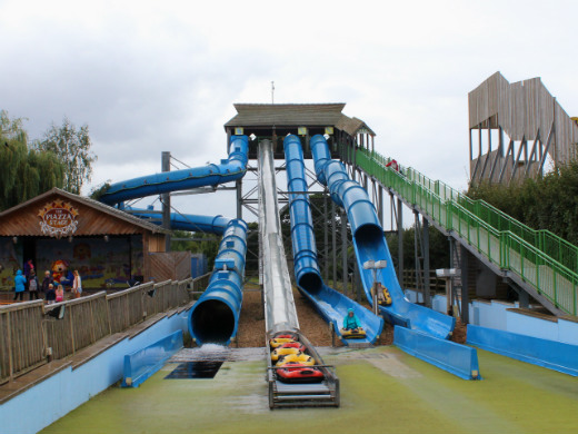 Family day out in Devon at Crealy Adventure Park water slides