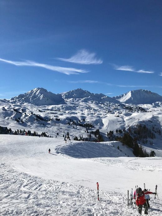 planning a skiing holiday view of Alps ski slopes