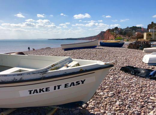 Budleigh Salterton beach boat